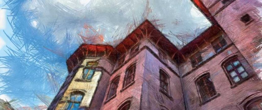 Budynek PWSZ jako szkic kolorowy